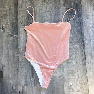 Pink velvet body suit -  NEVER WORN.
